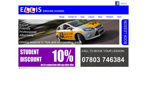 Screenshot of Home Page ellisdrivingschool.co.uk - Driving lessons in the York area with ELLIS Driving School - captured Sept. 26, 2014
