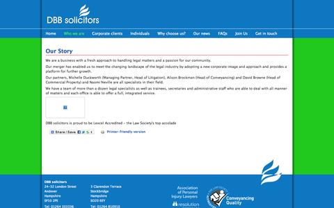 Screenshot of About Page dbbsolicitors.co.uk - Our Story | DBB solicitors - captured Oct. 27, 2014