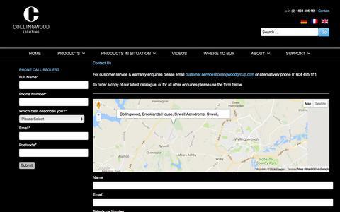 Screenshot of Contact Page collingwoodlighting.com - Contact us - Collingwood Lighting - captured Sept. 25, 2018