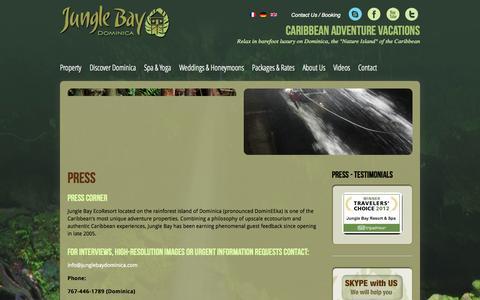 Screenshot of Press Page junglebaydominica.com - Press - Jungle Bay Dominica - captured Sept. 23, 2014