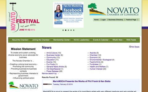 Screenshot of Press Page novatochamber.com - News - Novato Chamber of Commerce, CA - captured Feb. 24, 2016