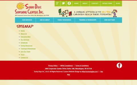 Screenshot of Site Map Page sunshinecenternj.com - Sunshine Center, Inc. - captured Jan. 23, 2016