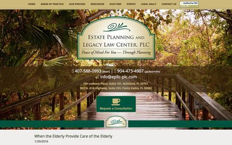 Screenshot of Blog epllc-plc.com - Elder Law & Estate Planning Attorney | Paying for Long-Term Care/Nursing Homes | Winter Park, FL - captured Jan. 30, 2016