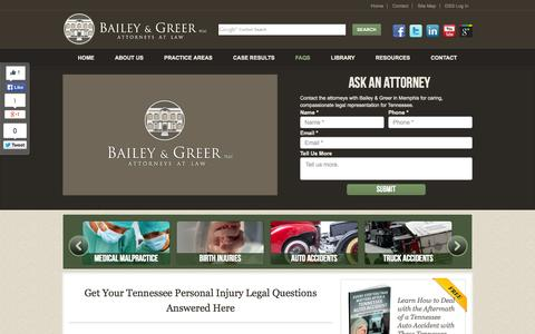Screenshot of FAQ Page baileygreer.com - Personal Injury FAQ | Memphis Injury Lawyer | Frequent Questions | Bailey & Greer PLLC - captured Oct. 5, 2014