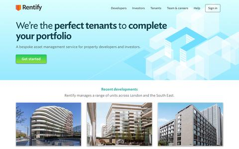 Screenshot of Home Page rentify.com - Rentify - the bespoke asset management service for property developers and investors - captured Feb. 11, 2019