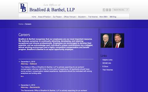Screenshot of Jobs Page bradfordbarthel.com - Careers | Law Offices of - captured Jan. 7, 2016
