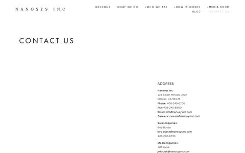 Screenshot of Contact Page nanosysinc.com - Contact Us — Nanosys Inc - captured July 20, 2014