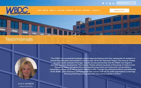 Screenshot of Testimonials Page thewbdc.com - Testimonials | The Worcester Business Develepment Corporation - captured Oct. 18, 2018