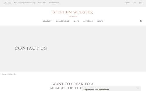 Screenshot of Contact Page stephenwebster.com - Contact Us - captured June 17, 2017