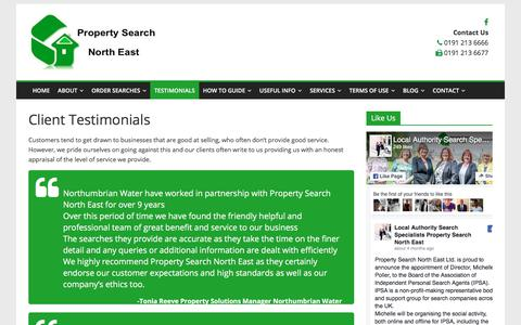 Screenshot of Testimonials Page propertysearchnortheast.com - Client testimonials from solicitors | Property Search North East - captured Sept. 19, 2017