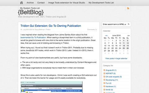 Screenshot of Blog guusbeltman.nl - {BeltBlog} | Web development with .NET, Tridion and AngularJS - captured June 21, 2016