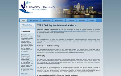 Screenshot of Home Page capacity-training-international.com - Capacity Training International - VPSHR Training Specialists and Advisors - captured Sept. 29, 2014