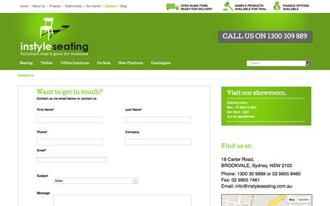 Screenshot of Contact Page instyleseating.com.au - Contact us | Instyle SeatingInstyle Seating - captured Sept. 30, 2014
