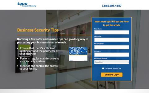 Screenshot of Landing Page tycois.com - Tyco Integrated Security - captured Aug. 31, 2016