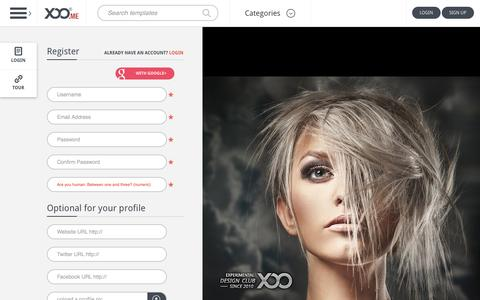 Screenshot of Signup Page xoo.me - XOO.me a free open source design directory, photoshop, vectors, icons, logos, ui elements and websites - Free downloads - captured Oct. 29, 2014