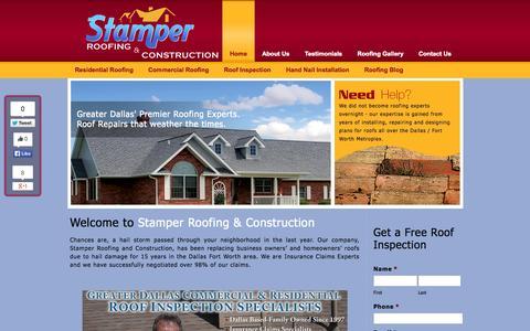 Screenshot of Home Page stamperroofing.com - Dallas Roofing Repair | Dallas Roofing | Stamper Roofing & Construction - captured Oct. 7, 2014