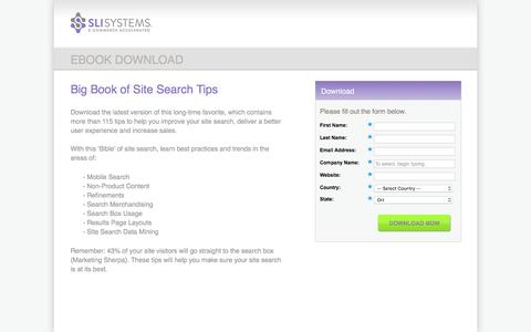Screenshot of Landing Page sli-systems.com - Big Book of Site Search Tips - captured May 10, 2016