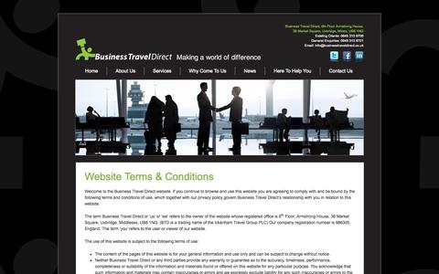 Screenshot of Terms Page businesstraveldirect.co.uk - Website Terms & Conditions | Business Travel Direct - captured Sept. 30, 2014