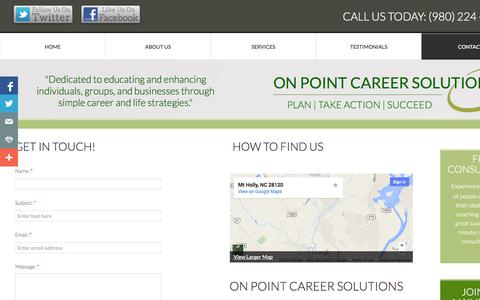 Screenshot of Privacy Page Contact Page onpointcareersolutions.com - Contact Us - captured Oct. 26, 2014