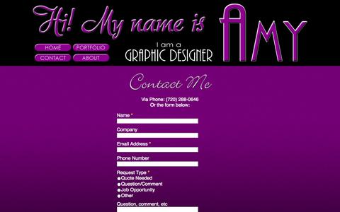 Screenshot of Contact Page n2dzyne.com - Portfolio of Amy Gonzalez (N2dzyne) - captured Oct. 27, 2014