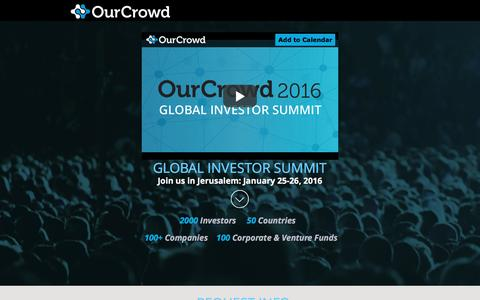 Screenshot of Landing Page ourcrowd.com - OurCrowd Global Investor Summit 2016 - captured Sept. 27, 2016