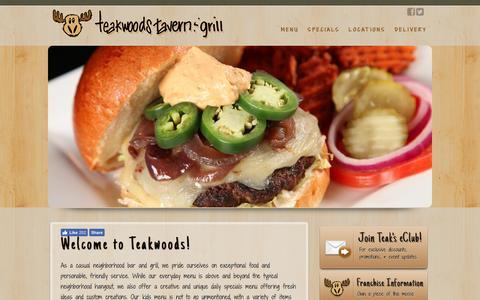 Screenshot of Home Page teakwoodstavern.com - Home - Teakwoods Tavern & Grill - captured March 12, 2017