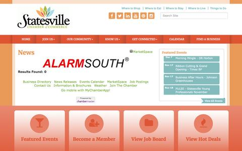 Screenshot of Press Page statesvillechamber.org - News - Greater Statesville Chamber of Commerce, NC - captured Nov. 15, 2016