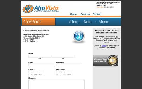 Screenshot of Contact Page altavista-com.com - Contact - Alta Vistia Communications - Effective Communication Tools - Tampa, FL - captured Oct. 2, 2019