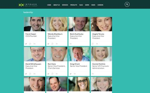 Screenshot of Team Page intouchsol.com - Leadership | Digital Pharmaceutical Marketing at Intouch Solutions - captured Sept. 19, 2014