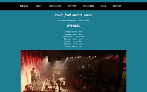 Screenshot of Hours Page bedlamtheatre.org - Bedlam Lowertown Hours | Bedlam Theatre - captured Sept. 30, 2014