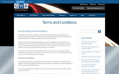 Screenshot of Terms Page gwacars.com - Terms and Conditions | GWA Cars & Finance - captured Oct. 1, 2014