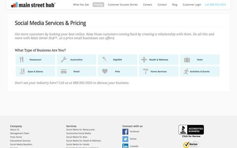 Screenshot of Pricing Page mainstreethub.com - » Social Media Services & Pricing Main Street Hub - captured Sept. 16, 2014