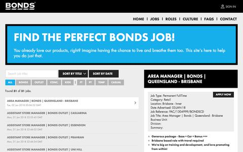 Screenshot of Jobs Page bonds.com.au - Jobs at Bonds | Bonds Jobs - captured Jan. 4, 2018