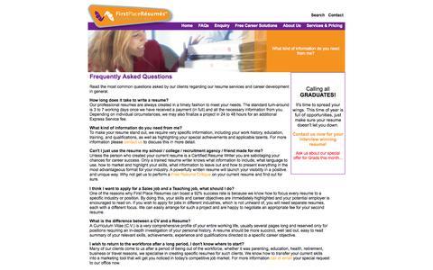 Screenshot of FAQ Page firstplaceresumes.com.au - FAQs - captured Sept. 30, 2014