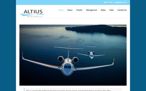 Screenshot of Home Page flyaltius.com - Altius Aviation, LLC - captured Sept. 6, 2015