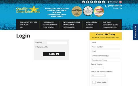 Screenshot of Login Page qualityentertainment.ca - Login - Quality Entertainment - captured Sept. 28, 2018