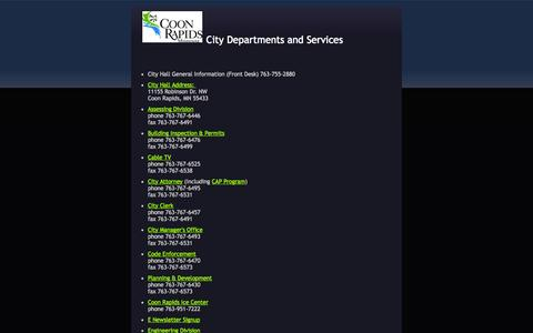 Screenshot of Services Page coonrapidsmn.gov - Services Directory - captured Oct. 1, 2014