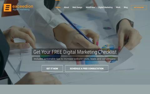 Screenshot of Home Page exceedion.com - Indianapolis Web Design, WordPress & Digital Marketing Firm - captured Nov. 12, 2016
