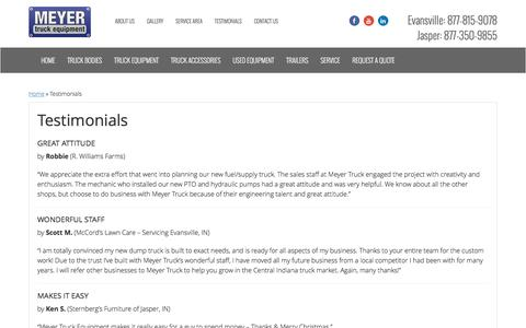 Screenshot of Testimonials Page meyertruckeq.com - Customer Reviews | Evansville & Jasper, IN | Meyer Truck Equipment - captured Nov. 28, 2016
