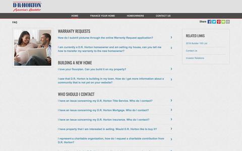 Screenshot of FAQ Page drhorton.com - FAQ | D.R. Horton - captured May 27, 2017
