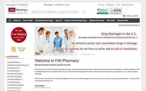 Screenshot of Home Page fillitpharmacy.com - Best Online Pharmacy Store USA: Buy Medical Equipments Online, Cancer Care, Men's Women's Health Care - captured Jan. 27, 2015