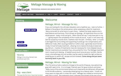 Screenshot of Home Page meltage.co.uk - Meltage Massage & Waxing | Professional massage and waxing service - captured Sept. 6, 2015