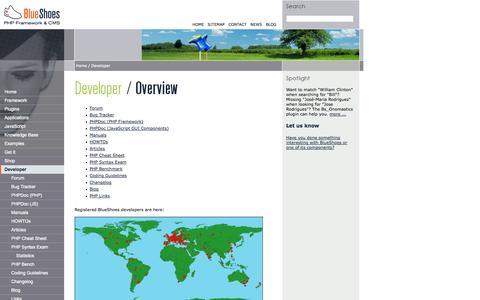 Screenshot of Developers Page blueshoes.org - BlueShoes PHP Framework: Developer - captured Nov. 3, 2014