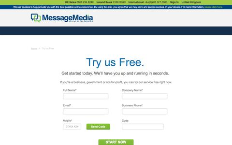 Screenshot of Trial Page messagemedia.co.uk - –  Try us Free - captured Jan. 18, 2018