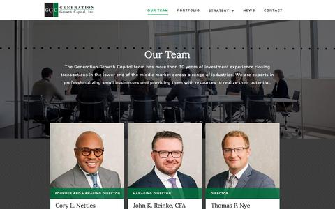 Screenshot of Team Page generationgrowth.com - Our Investment Team | Generation Growth Capital, Inc. - captured Sept. 27, 2018