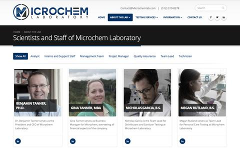 Screenshot of Team Page microchemlab.com - Scientists and Staff of Microchem Laboratory | Microchem Laboratory - captured Jan. 16, 2019