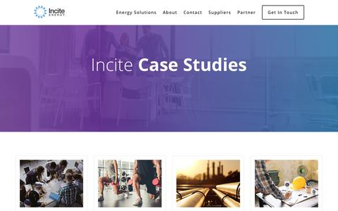 Screenshot of Case Studies Page inciteenergy.com - Incite Energy Case Studies - captured Nov. 6, 2018