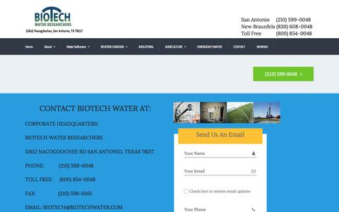 Screenshot of Contact Page biotechwater.com - CONTACT - BIOTECH - captured Nov. 22, 2016
