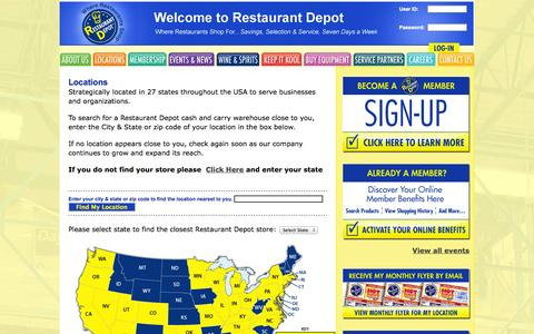 Screenshot of Locations Page restaurantdepot.com - Depot Locations Wholesale Bulk Food Distributor Locations - captured Sept. 25, 2014