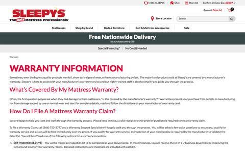 Warranty - Sleepy's